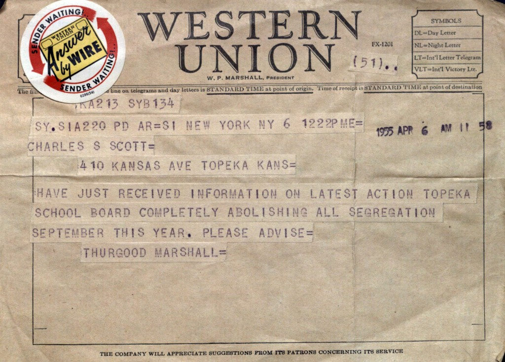 Telegram from Thurgood Marshall to Charles Scott