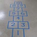 hopscotch on gallery floor