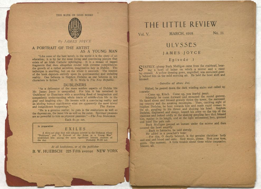 First episode of Ulysses in The Little Review (March 1918)