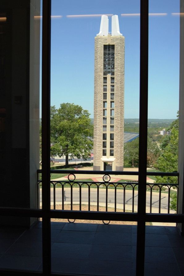 View of the Campanile from the Kenneth Spencer Research Library's North Gallery