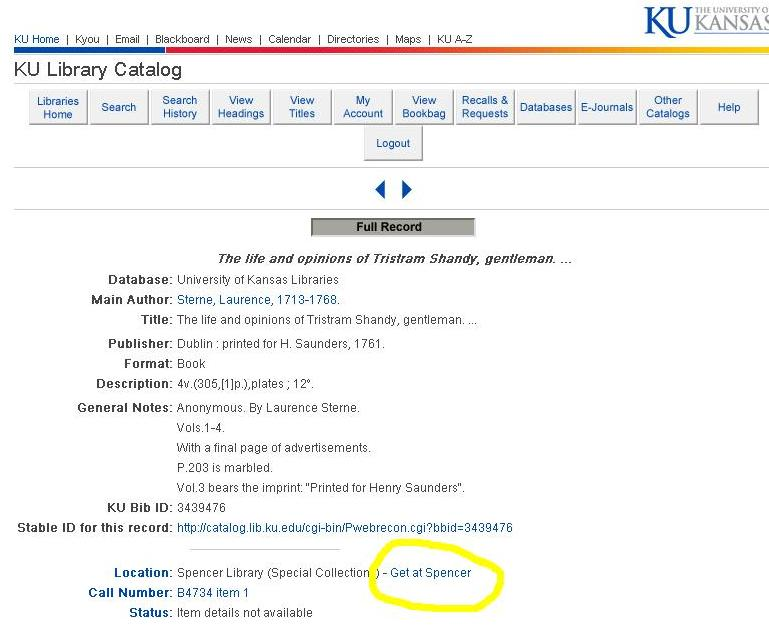 "Image of Online catalog record with ""Get at Spencer"" link highlighted"