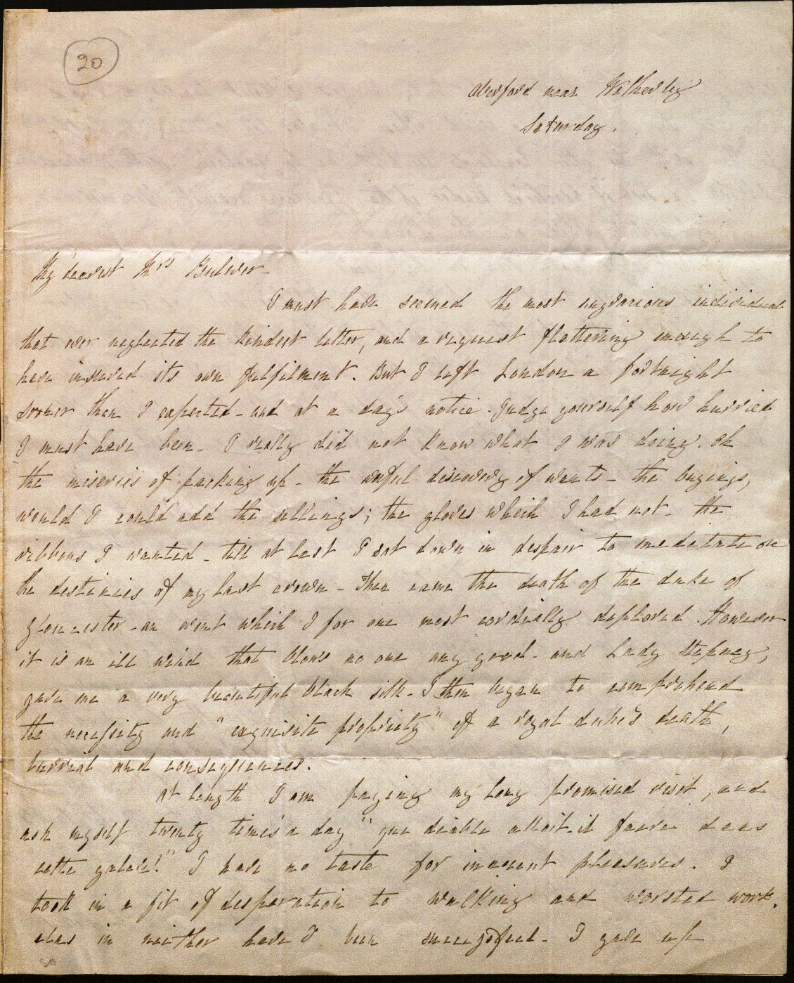 Image of Letter from L. E. L. to Mrs. Bulwer, page 1