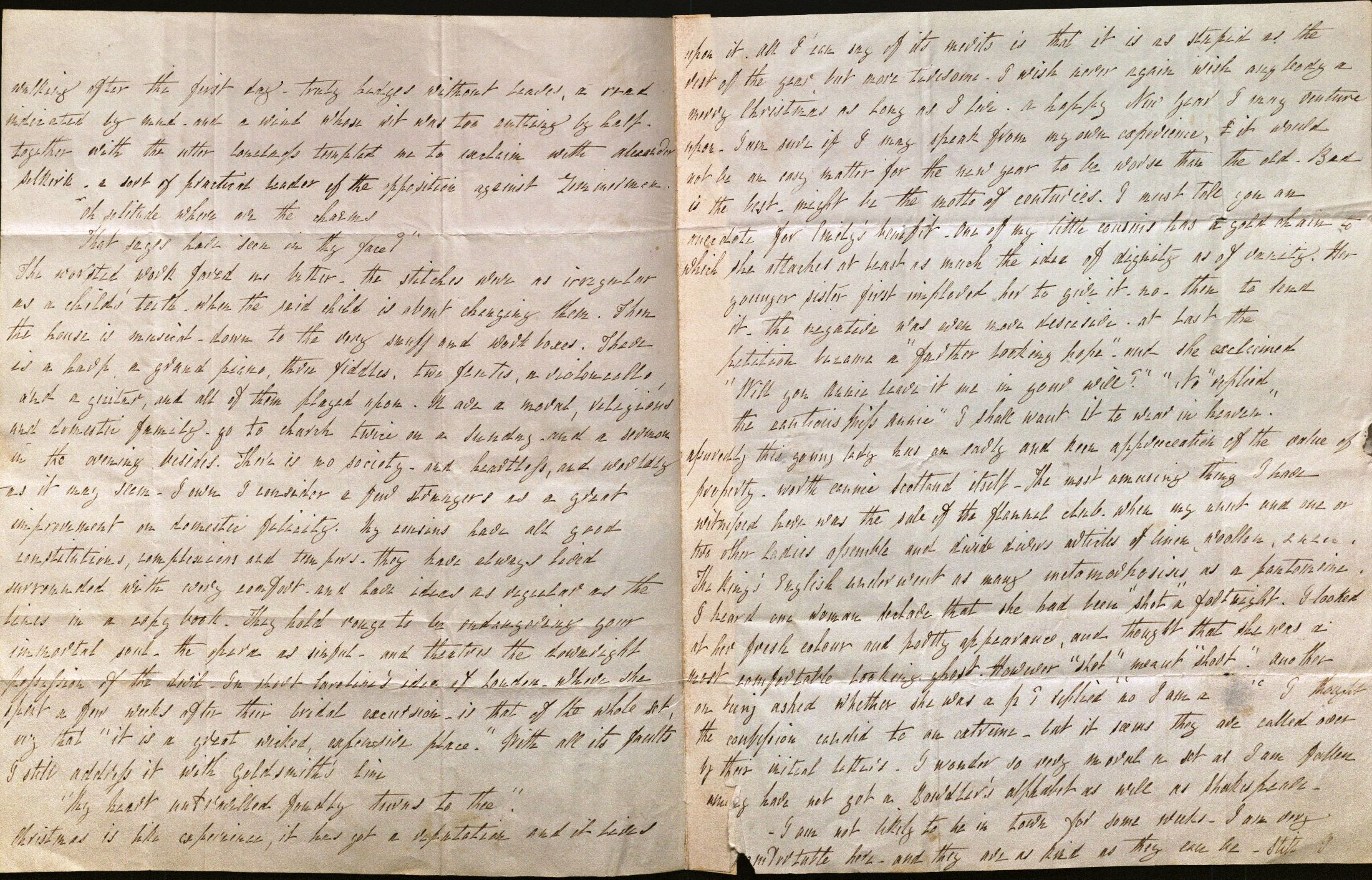 Image of Letter from L. E. L. to Mrs. Bulwer, pages 2-3.