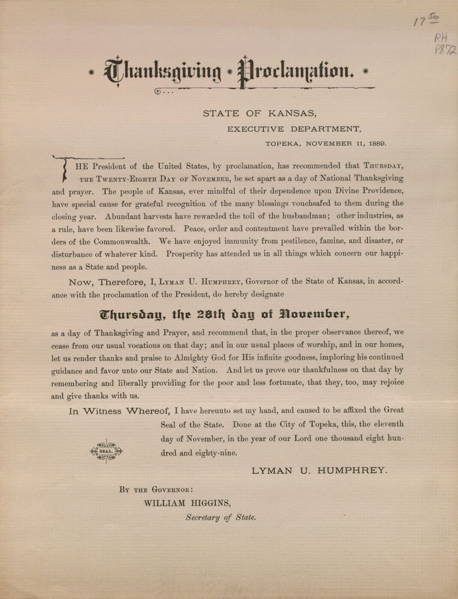 Image of Thanksgiving Proclamation, Kansas 1889