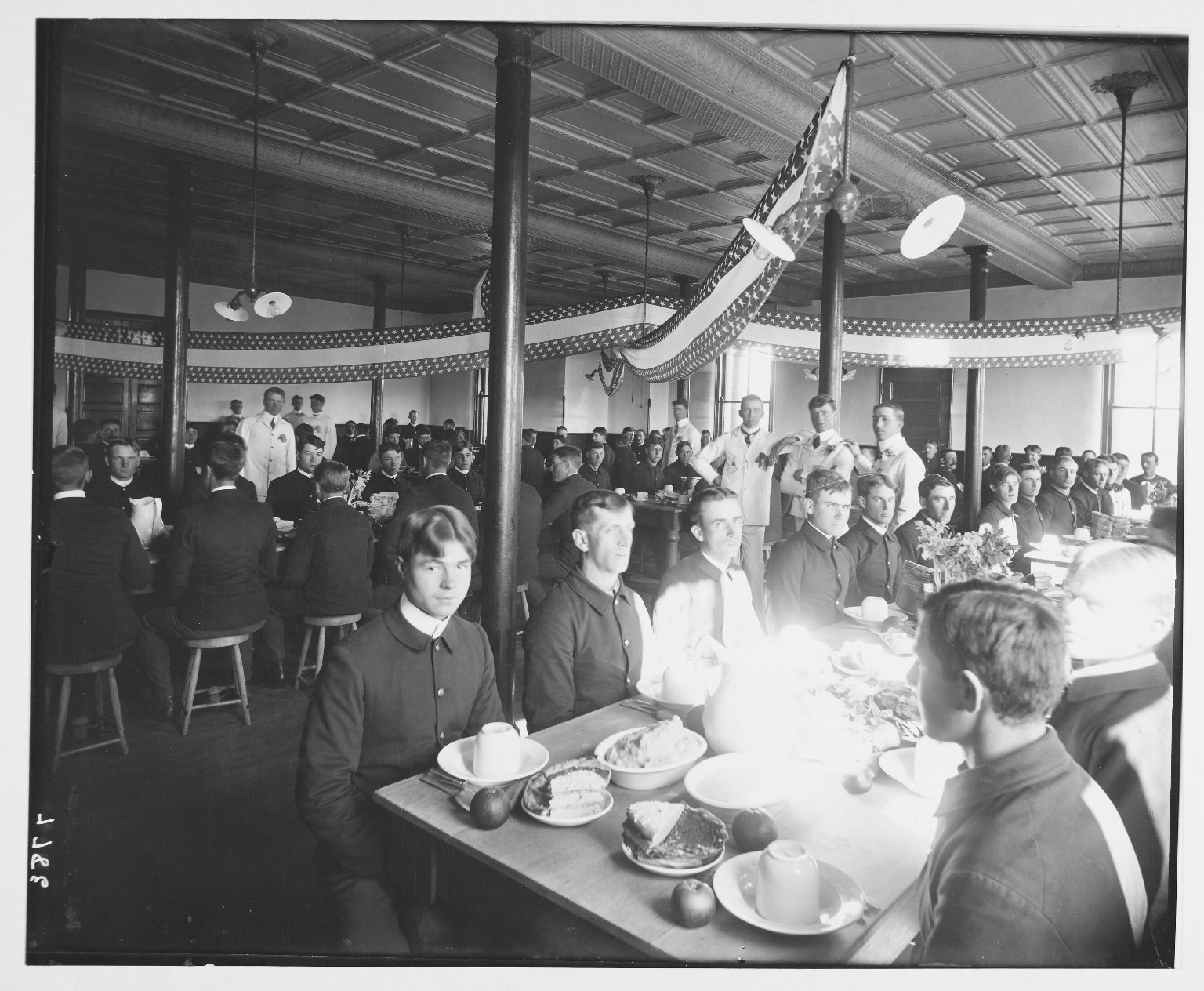 Image: Men Gathered in 20th Battery Dining Hall, Fort Riley, for Thanksgiving Dinner.  1904.