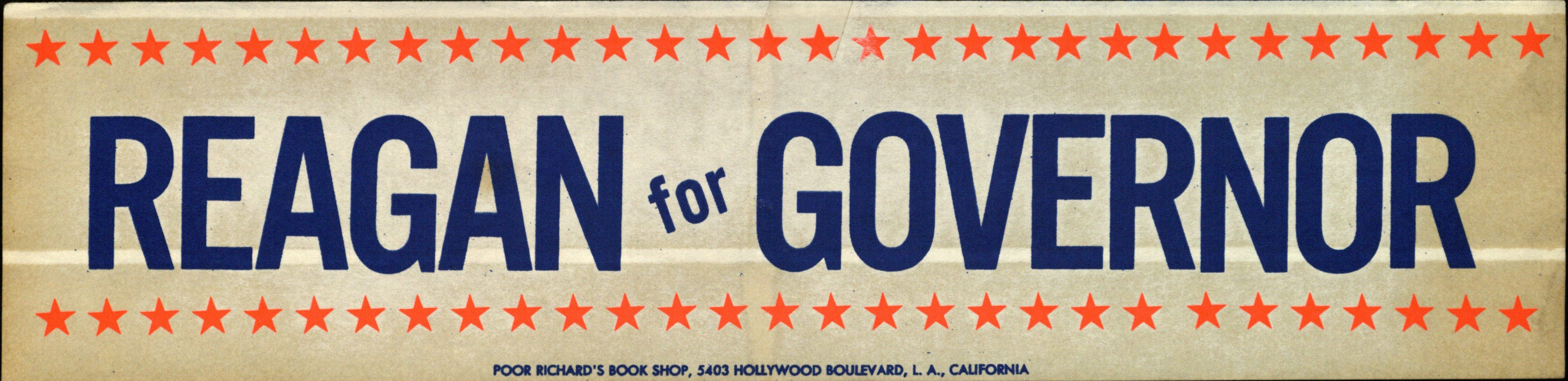 Bumper Sticker: Reagan for Governor