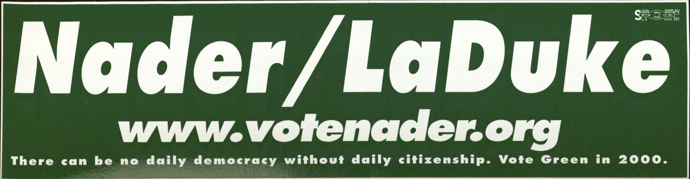 Bumper Sticker: Nader/LaDuke