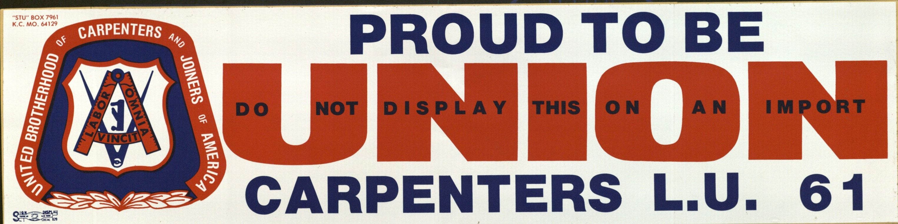 Bumper Sticker: Proud to Be Union