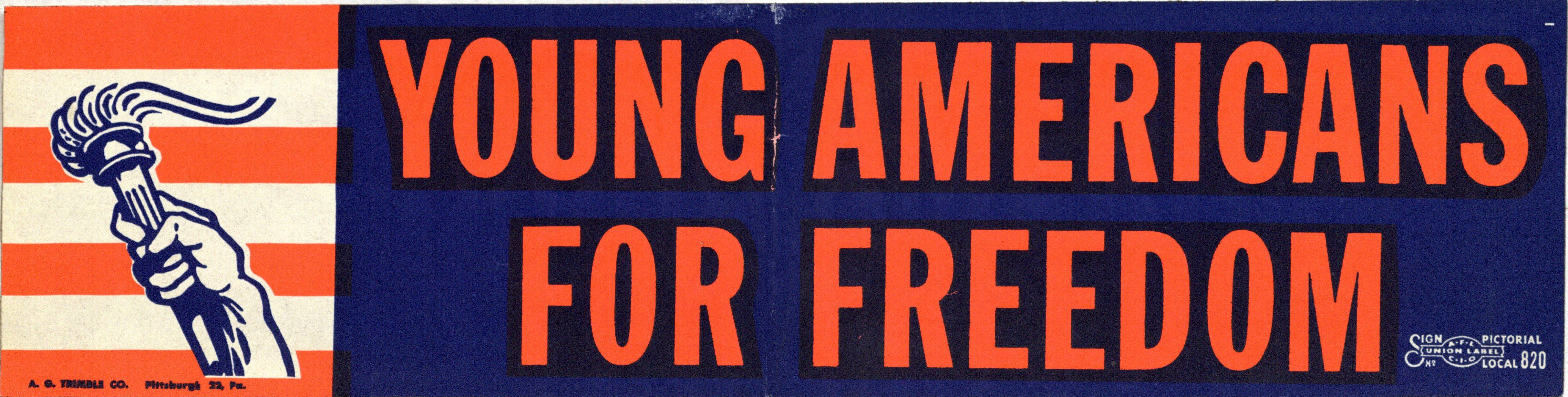 Bumper STicker: Young Americans for Freedom.