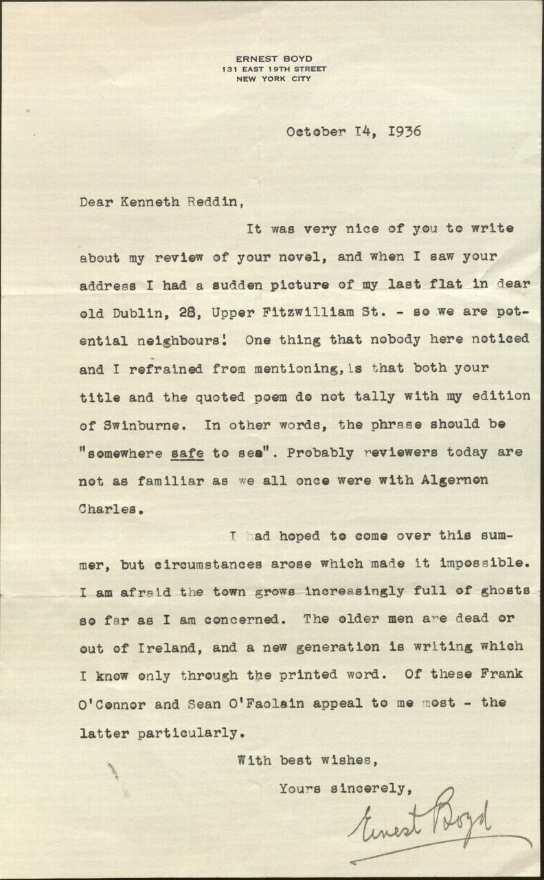 Image of Letter from Ernest Boyd to Kenneth Reddin, October 14, 1936.