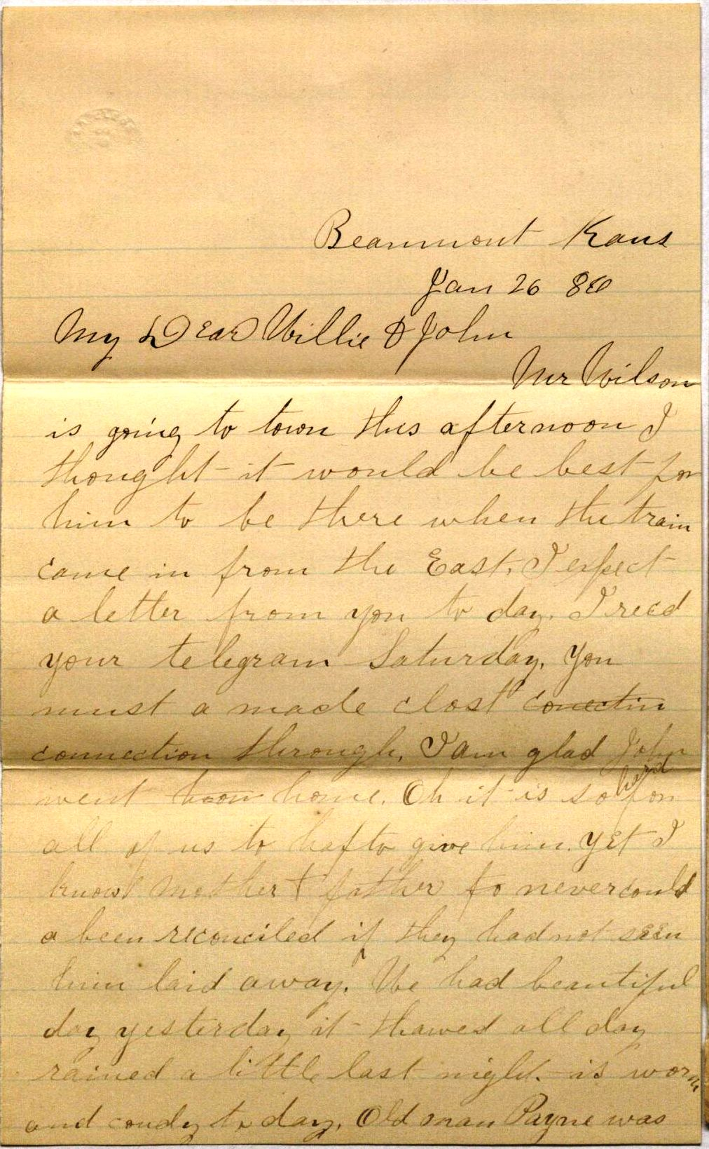 Image of Letter from Jennie Johnson to Will Johnson, January 26, 1886