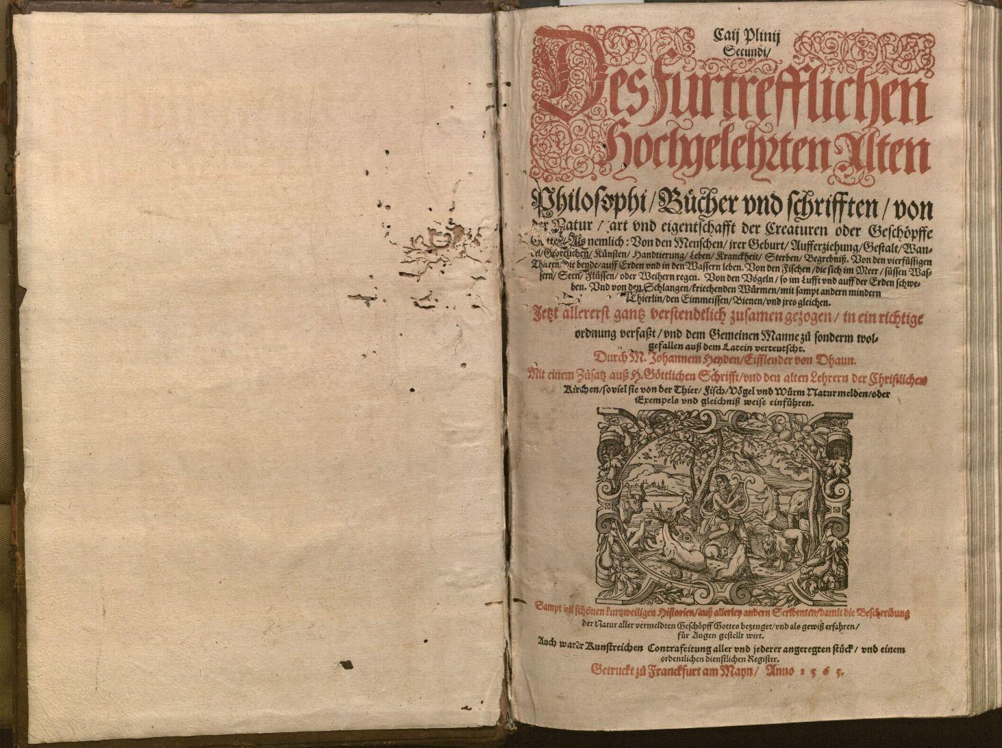 Image of title page for Bücher und Schrifften von der Natur (1565)