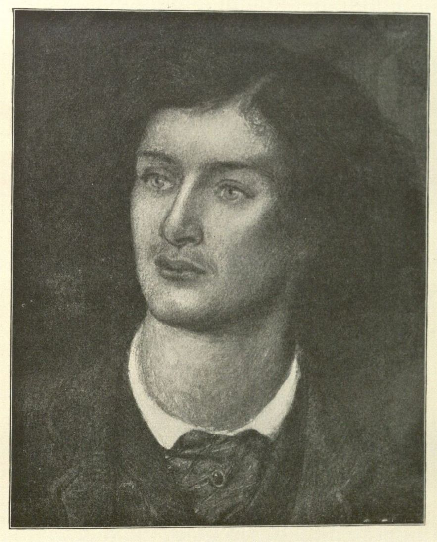 Image of black and white reproduction of Dante Gabriel Rossetti's portrait of Algernon Charles Swinburne