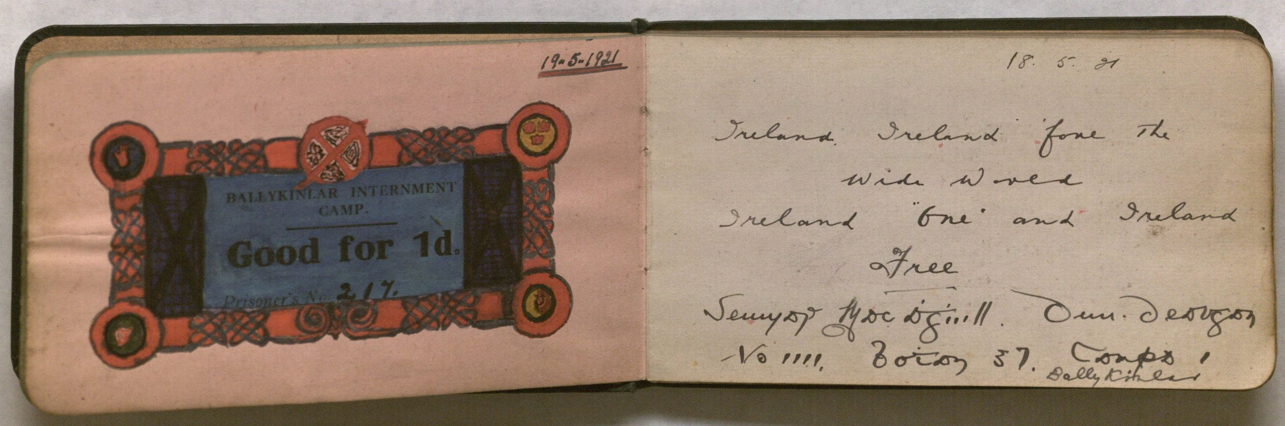 Image of the Autograph Book open to an embellished credit ticket and an inscription bearing a patriotic sentiment.