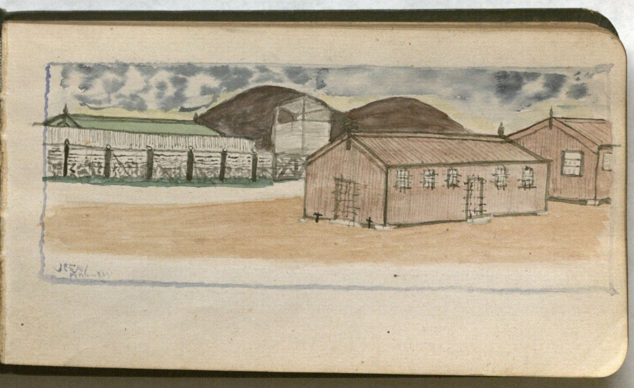 Image of a page containing a sketch of the camp's huts.