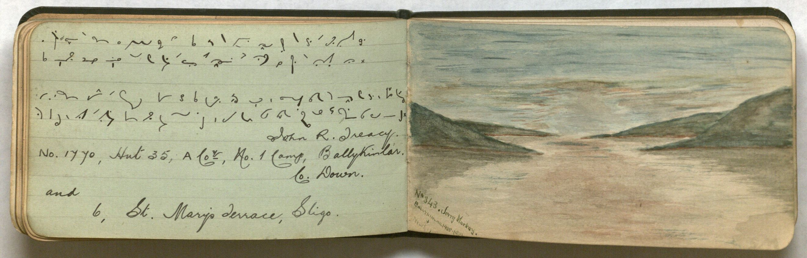 Photograph of an opening featuring an inscription in shorthand and a sketch.