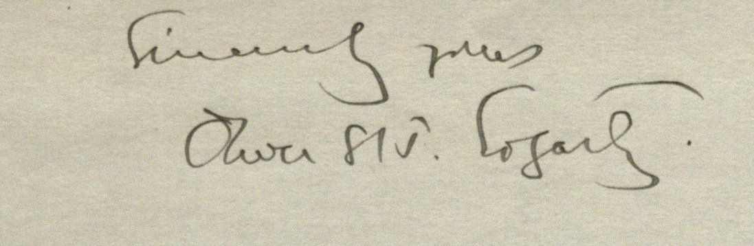 Photograph of Oliver St. John Gogarty's signature from a 1924 letter to P. S. O'Hegarty.