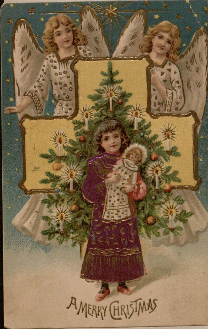 """""""A Merry Christmas""""; Christmas postcard 1903"""