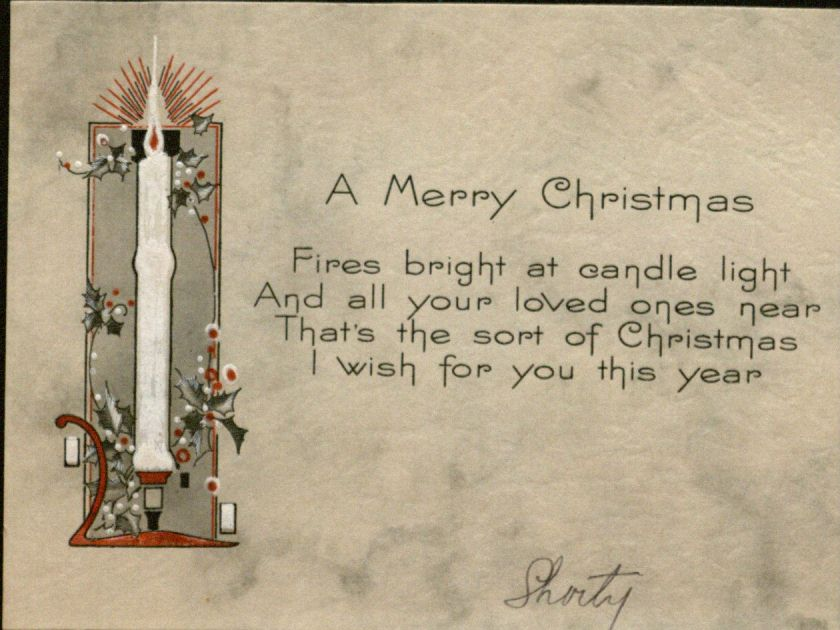 "Holiday card from ""Shorty,"" undated: ""A Merry Christmas"""