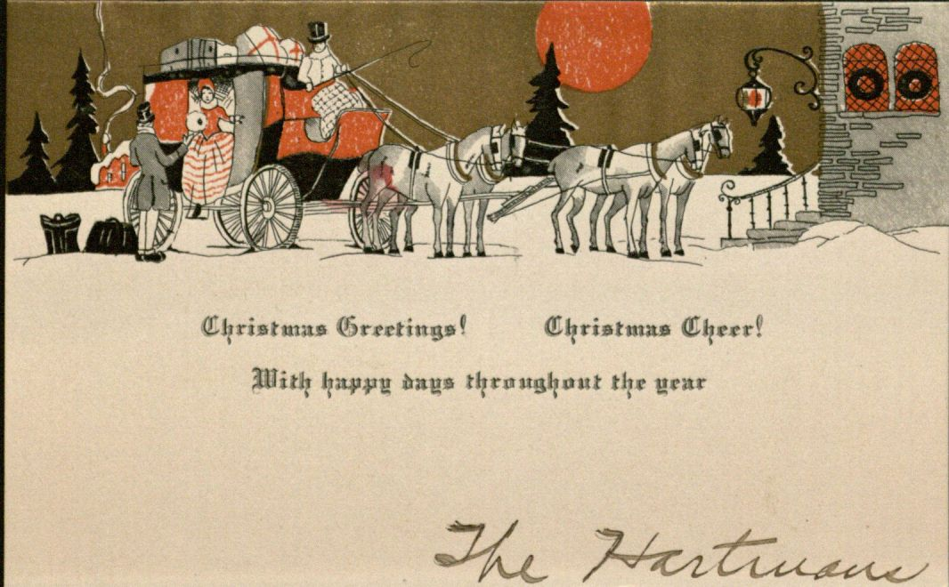 "Holiday card: ""Christmas Greetings! Christmas Cheer"", 1927"