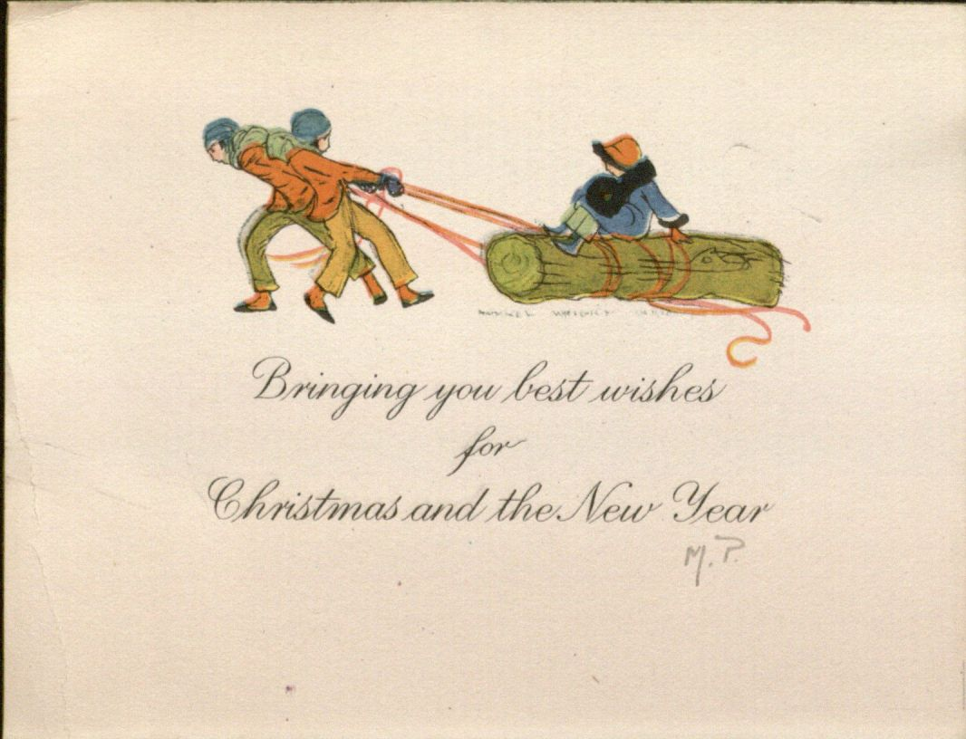 "Card, ""Bringing you best wishes for Christmas and the New Year,"" 1920"