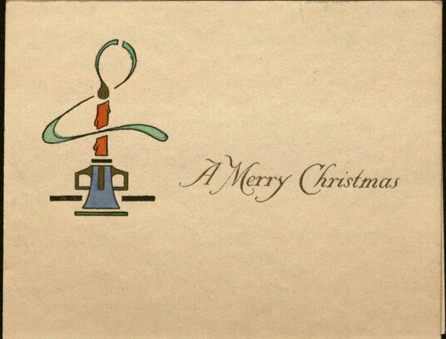 """A Merry Christmas"" (card with candle), 1917"