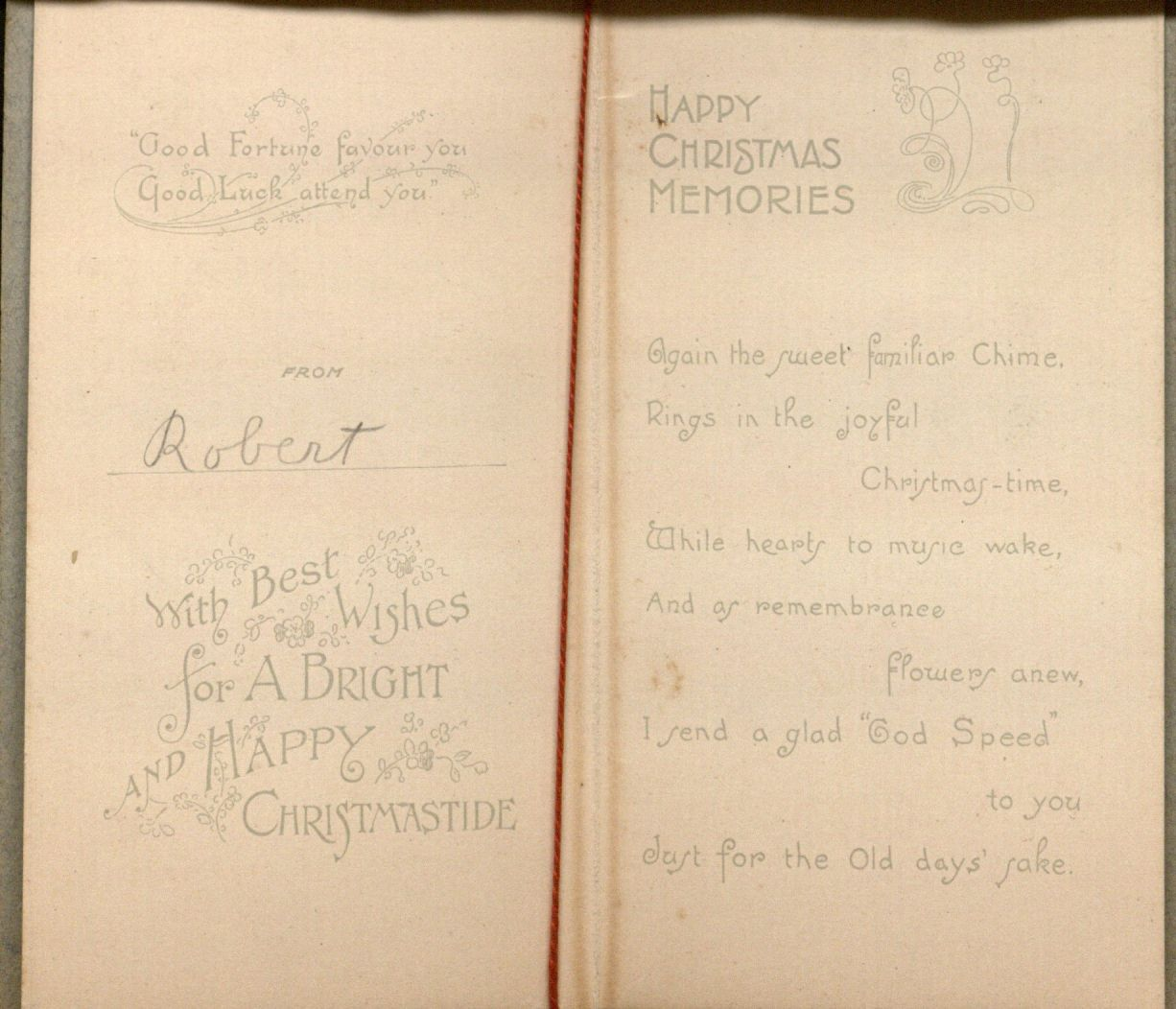 """With Best Wishes for a Bright and Happy Christmastide;"" Holiday card, interior (from ""Robert""), undated."