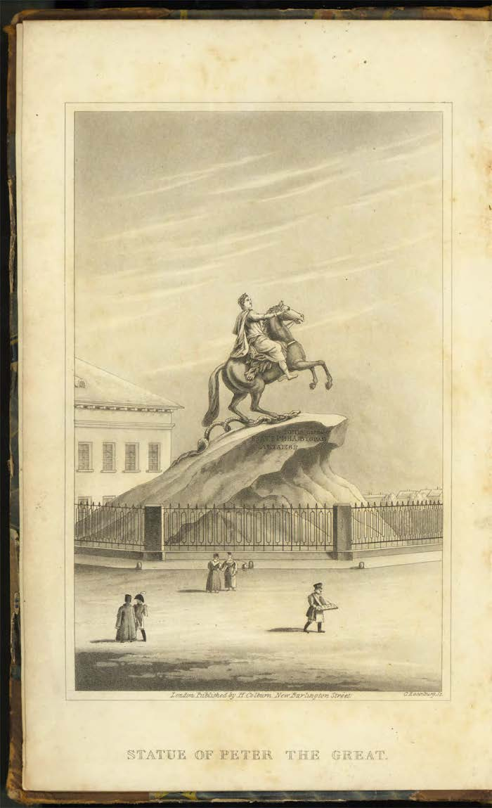 "Frontispiece illustration of the statue, ""The Bronze Horseman,"" (i.e. Peter, the Great) from Granville's "" St. Petersburg. A journal of travels to and from that capital."" (1829, 2nd Edition)"