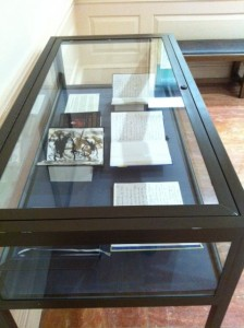 Image of display case containing five of Burroughs' last journals