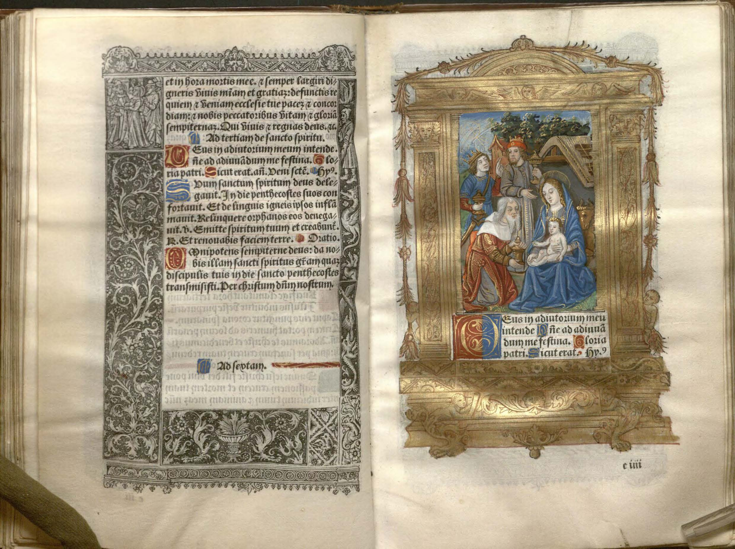 Image of an Opening featuring a miniature of the Adoration of the Magi in a Printed Book of Hours, ca. 1505.