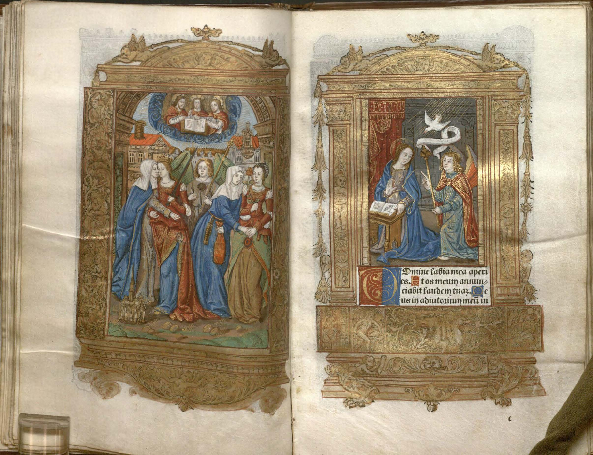 Image of a printed books of hours at an opening with two miniatures.