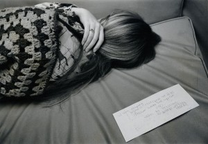 Photograph of a student sleeping with note, 1970s.