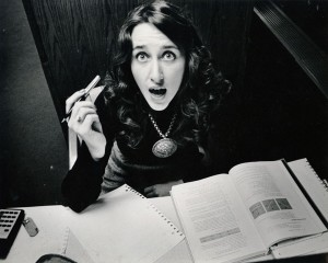 Photograph of a panicked student looking up, October 1978.