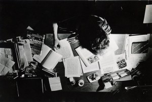 Overhead photograph of student studying, 1981-1982.