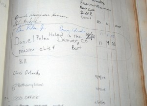 Detail of guest book at Kenneth Spencer Research Library, University of Kansas.