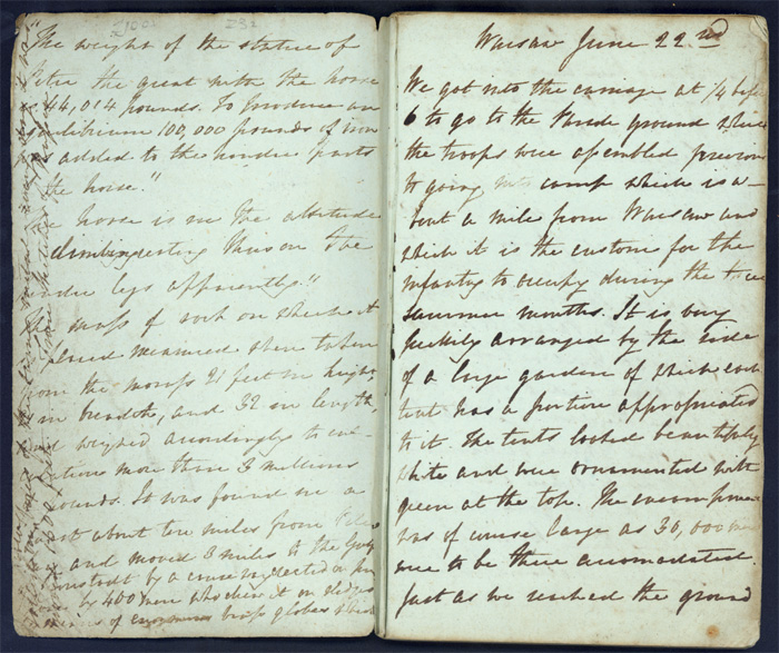 Image of a page from the diary of an English woman open to entry for Warsaw, June 22, 1828.