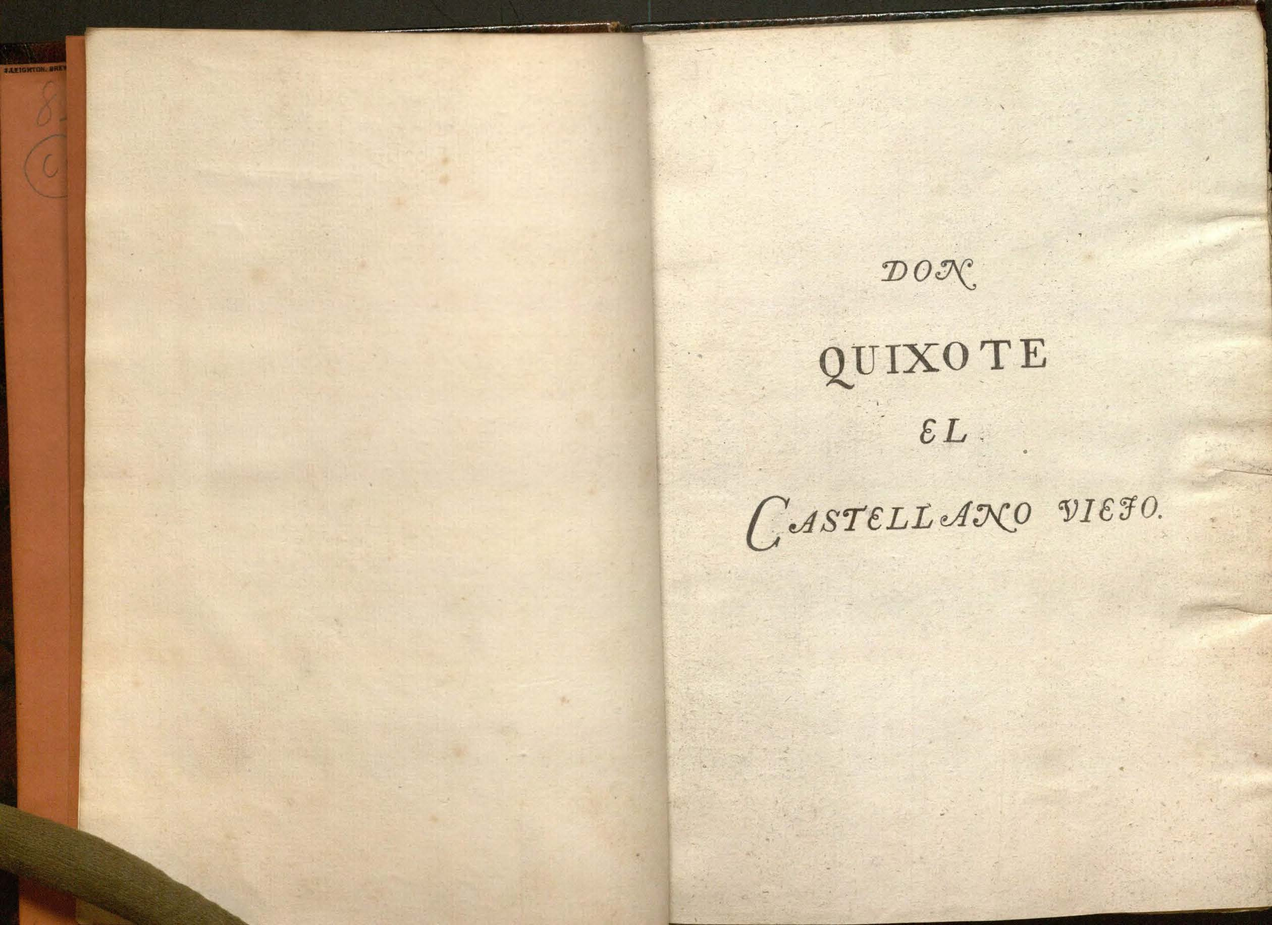 Image of the title page (in a different hand?) giving the title, Don Quixote, el Castellano viejo