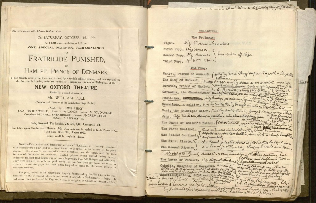 Picture of Poel's Fratricide Punished Prompt book, open to the list of characters and a pasted in print announcement.