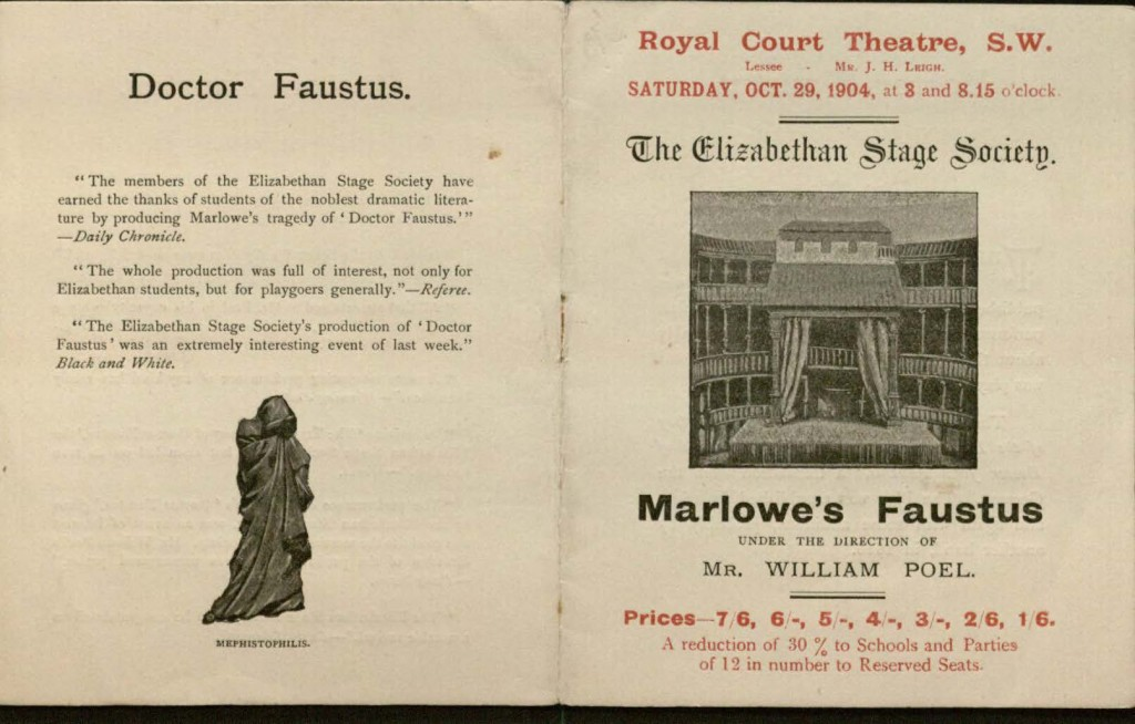 Image of exterior of program for Poel's production of Marlowe's Faustus