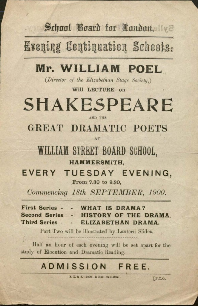 Lecture announcement for a lecture series on Shakespeare.