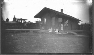 Photograph of a train depot in Lawrence, Kansas
