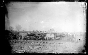 Photograph of a train wreck