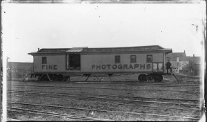 Photograph of James Shane's railroad photography car