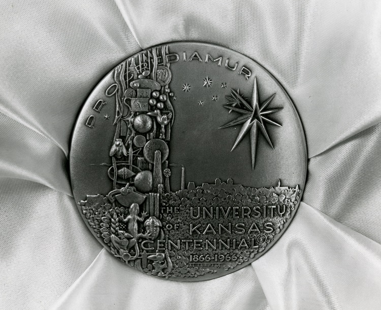 Photograph of medallion designed by Elden Tefft, for the 1966 centennial.