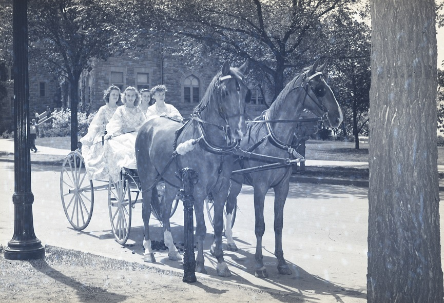 Photograph of a group of women showing off the horse-drawn carriages and hitching posts used for the celebration.