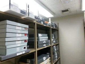 Photograph of University Archives artifacts room