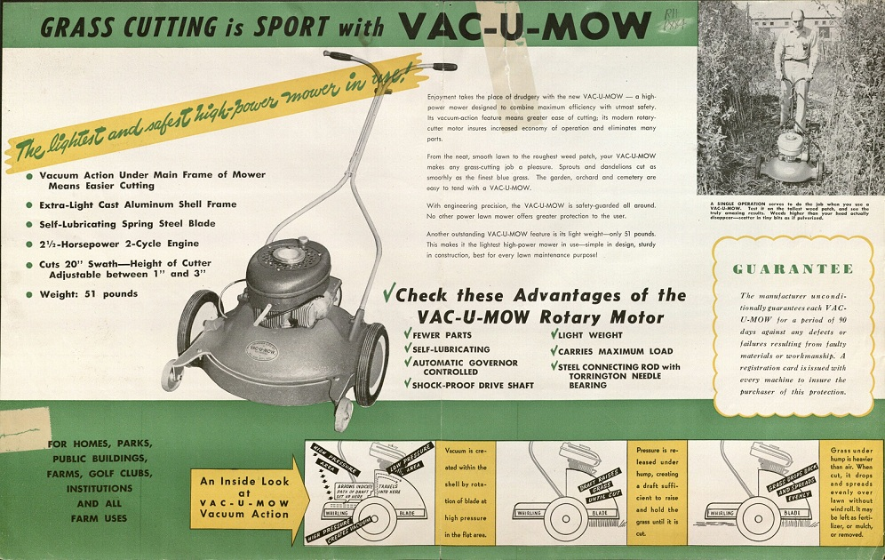 Image of Vac-U-Mow advertising brochure, Granger Manufacturing Company, page 2