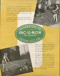 Image of Vac-U-Mow advertising brochure, Granger Manufacturing Company, page 3