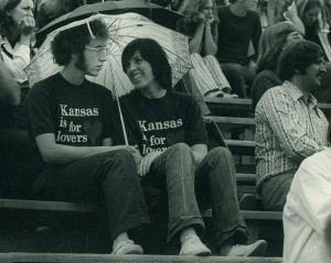 Photograph of two KU football fans, 1973