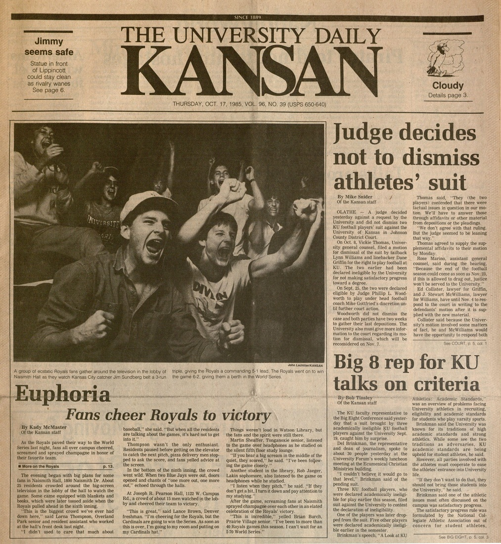 Image of the University Daily Kansan, October 17, 1985